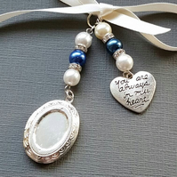 "Wedding Bouquet Charm Oval Silver Locket Pendant and ""always in heart"" charm"