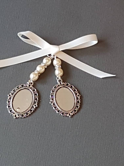 Wedding Bouquet Charm, Photo Charm, Double Oval Silver Locket, Ivory Pearls
