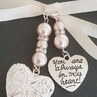 "Wedding Bouquet Charm Silver Filigree Locket & ""you are always in my heart""charm"