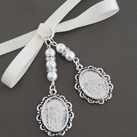 Wedding Photo Frame Bouquet Charm Double Oval Silver Locket,