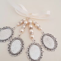Wedding Quadruple Oval Silver Locket Charm, Photo Charm, Ivory Pearls