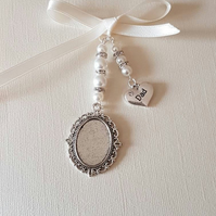 "Wedding Photo Frame Bouquet Charm Oval Silver Locket, and ""dad"" charm"