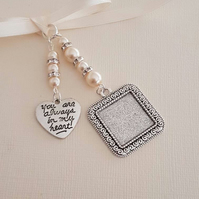 "Wedding Photo Frame Bouquet Charm Square Silver Locket, and ""always in my heart"""