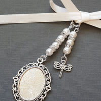Wedding Photo Frame Bouquet Charm Oval Silver Locket, and dragonfly charm
