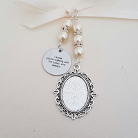 Wedding Bouquet Charm Oval Silver Locket,  I know you're walking with me today.
