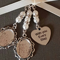 "Bouquet Charm, Photo Frame, Double Silver Locket,""With you every step"" charm"