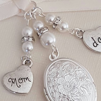 "Wedding Bouquet Charm Oval Silver Embossed Locket ""Mom"" & ""Dad"" charms"