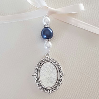 Wedding Bouquet Charm Oval Silver Locket Pendant navy & Ivory pearls gift bag