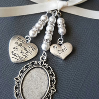 "Lovely Wedding Bouquet Charm Silver Locket,  ""dad"" ""always in my heart"" charm"