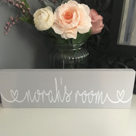 Personalised Door plaque or freestanding wooden block decor