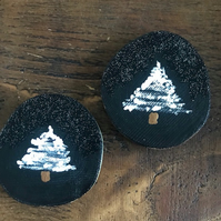 Hand-Painted Rustic Wood Coaster, Decoration, Tag - Night Sky Snowy Tree x2
