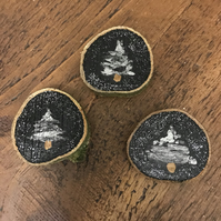 Rustic Natural Wood Slice Magnets - Silver Tree x3