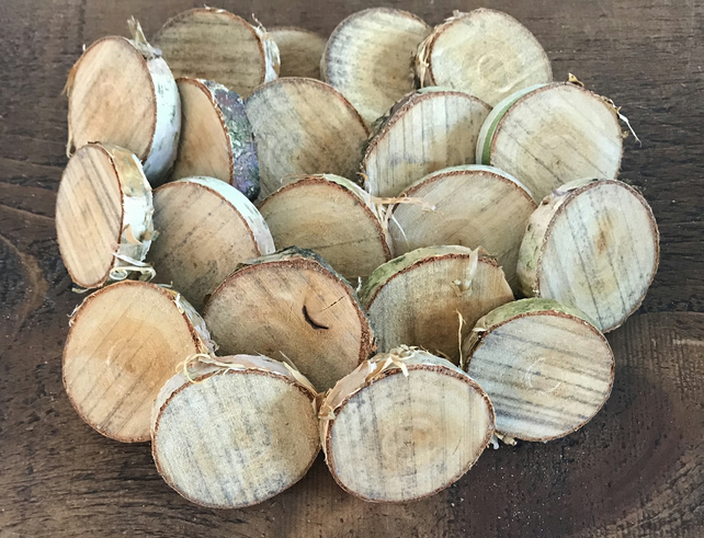 80 Small Natural Birch Wood Slices Rounds Craft 45 55cm