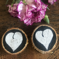 2 Natural Birch Wood Mother's Day Magnet Gift - Silver Love Heart
