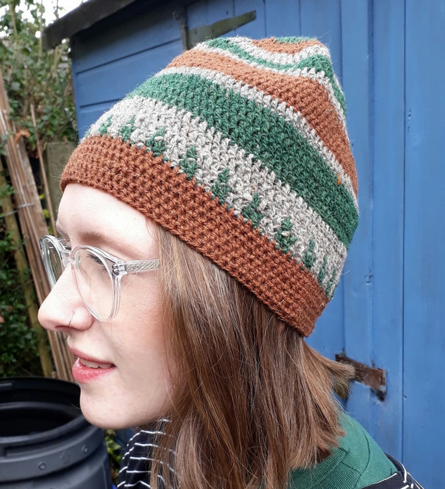 Hand Crocheted Forest Hat.
