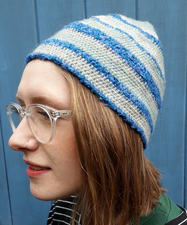 Hand Crocheted Blue Striped Hat.