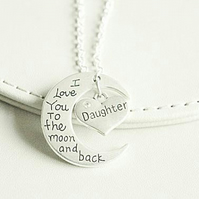 Love you to the Moon and Back Daughter Necklace