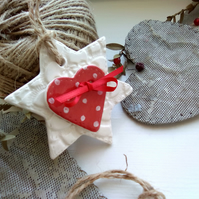 Double Red & White Ceramic Polkadot Star - ( Set of two Ceramic Stars )
