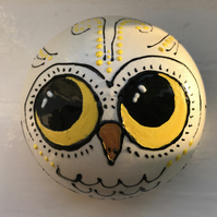 Quirky Acrylic painted Owl sphere