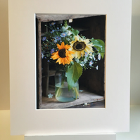 Mounted Fine Art print original  'Crate and Vase' photograph of sunflowers