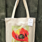 Linen style tote bag handprinted with original 'Poppy' design
