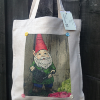 Linen style tote bag handprinted with original 'Little Edgar the Gnome' design
