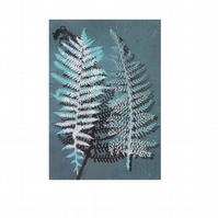 Turquoise fern postcard from original nature monoprint by Stef Mitchell