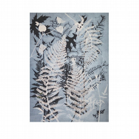 A4 Giclee Print from original botanical monotype by Stef Mitchell -Blue Ferns