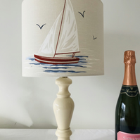 New Handmade Nautical Yacht Fabric Drum Pendant Light lamp shade - 25cm diameter