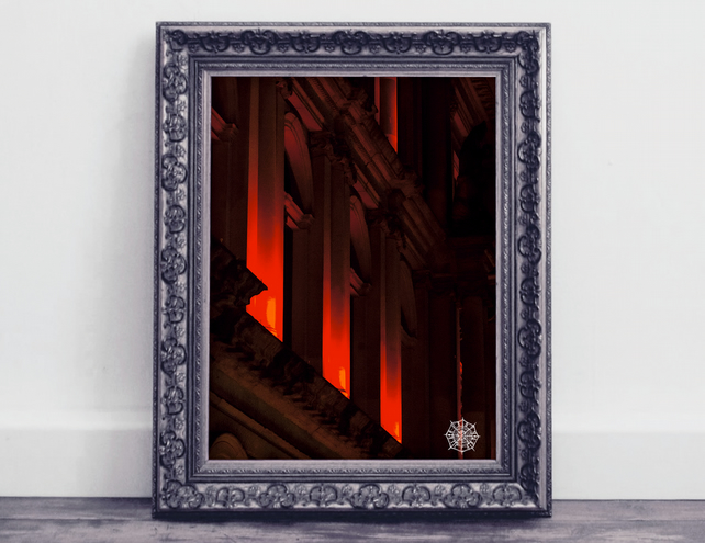 Glasgow Street Photography Print, Red Art Print, Urban Art, Home Decor