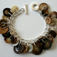 Natural Neutrals Button Charm Bracelet
