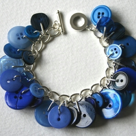 Blue Mix Button Charm Bracelet