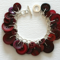 Red Winter Berry Button Charm Bracelet