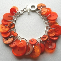 Orange Crush Button Charm Bracelet