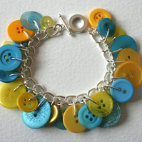 Button Charm Bracelet Yellow and Aqua