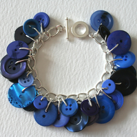 Button Charm Bracelet Deep Blue Mix