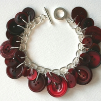 Deep Wine Red Button Charm Bracelet