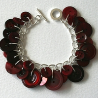 Blood Red Button Charm Bracelet