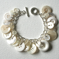 Bright Clean Pearly White Button Charm Bracelet