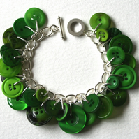 Lush Green Jungle Leaves Button Charm Bracelet