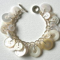 Bright White and Pearl Button Charm Bracelet