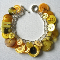 Bumblebee Yellow Button Charm Bracelet