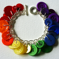 Rainbow Button Bracelet Multicolours Red Orange Yellow Green Blue