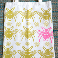 Bee Tote Bag- Yellow and Neon Pink