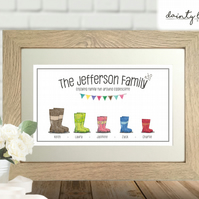 Welly Boot Personalised Family Picture Gift: Unusual, Birthday, Keepsake