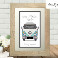 VW Camper Van Personalised Picture Gift: Unusual, Birthday, Family, Wedding