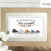CONVERSE Shoes: Personalised Family Picture Gift: Unusual, Birthday, Keepsake