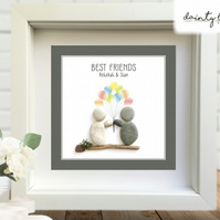 BEST FRIENDS Pebble Picture: Personalised Gift with Sea Glass - Birthday - Love