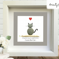 APPROVED by the CAT Pebble Picture: Personalised Gift with Sea Glass - Birthday
