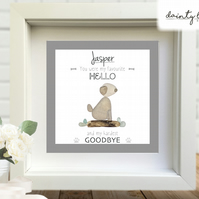 DOG BEREAVEMENT Pebble Picture: Personalised Gift with Sea Glass